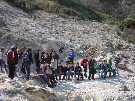 Les élèves aux Solfatares